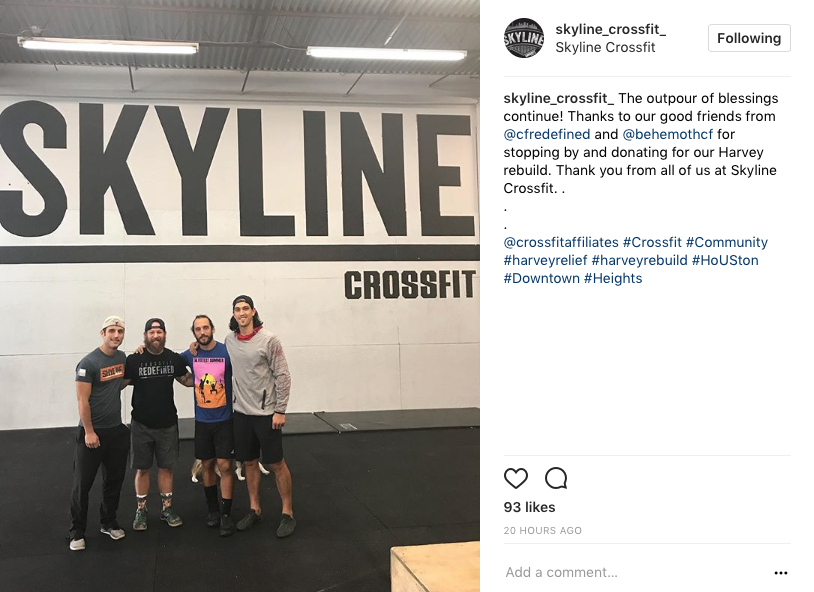 Thanks to Aja Barto and Lance Miles for the continual support from the CrossFit community with hurricane relief.