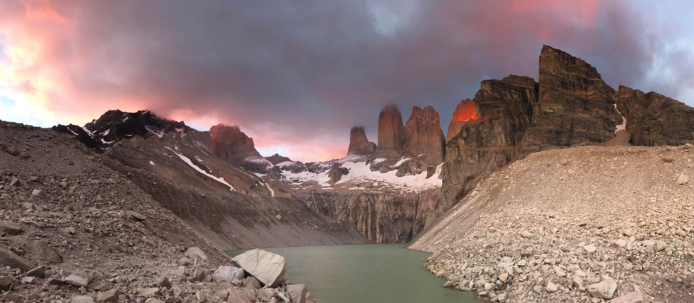 "From Skyline athlete member Brad Andersen:  ""Torres Del Paine at sunrise. Did the W trek and this was the last day. This was an epic hike. Great weather, amazing landscapes, shared Christmas dinner with Colombian newlyweds on their honeymoon, and almost made it out without incident. Torres Del Paine threw a curveball and hit me with food poisoning on the last day. I might have been hallucinating on the way down the mountain, but I survived...barely."""