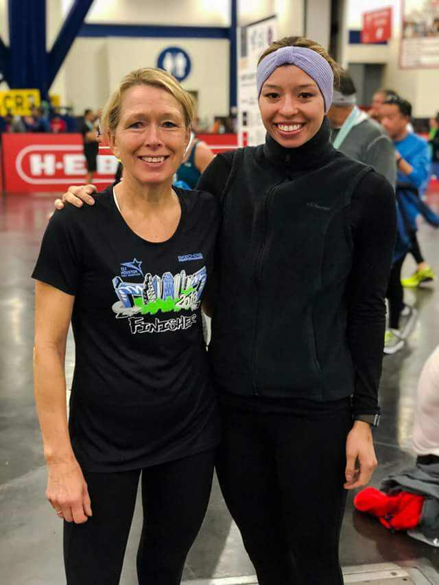 Mother daughter duo Amber and Roswitha Carter ran the Houston Marathon in fridgid tempratures. Two days later Roswitha PR'd her Deadlift.  Now thats fitness!