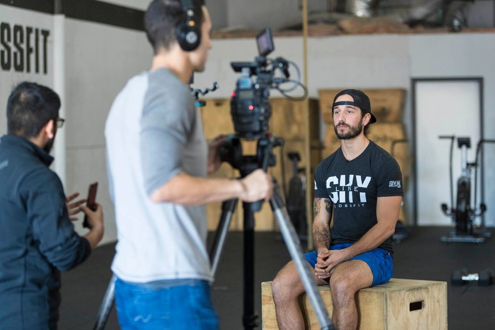 CrossFit Games HQ Production interviewing Coach Dylan for 18.3 Announcement.