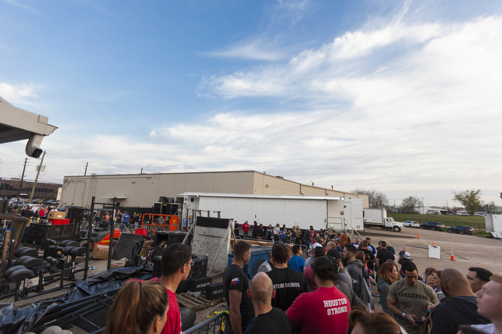 Everyone patiently waiting outside prior to the live 18.3 Open announcement at Skyline CrossFit.