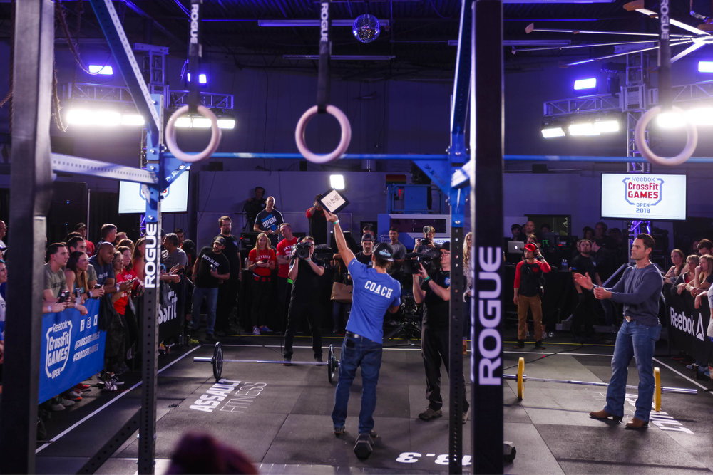 We had the privilege of hosting the CrossFit Games 18.3 Open announcement back in February. This was a very special moment for us and our members. This picture is of owner Dylan and Ryan Kucish accepting the 18.3 trophy and dedicating it to the the City of Houston and all that were affected and still be affected by Hurricane Harvey. This was a special moment that hit home with a lot of people.  #HoustonStrong