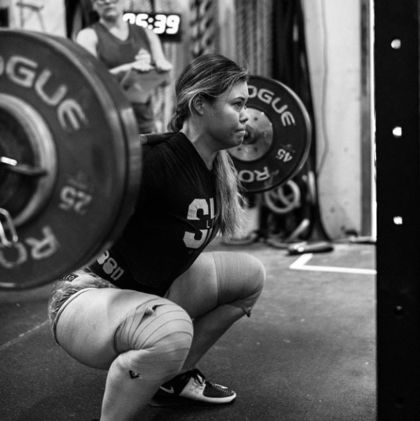 Michelle showing us a nice looking back squat at the Summer Series at Vintage CrossFit.