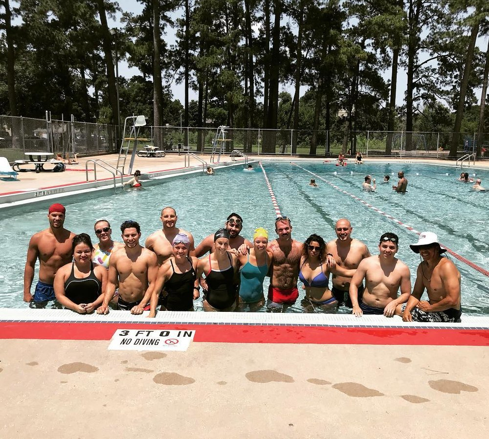 Last months Swim WOD at Memorial Park Pool!