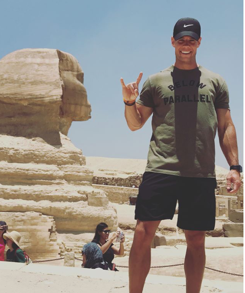 Daniel Orr is front of the worlds largest sculpture the Great Sphinx of Giza.