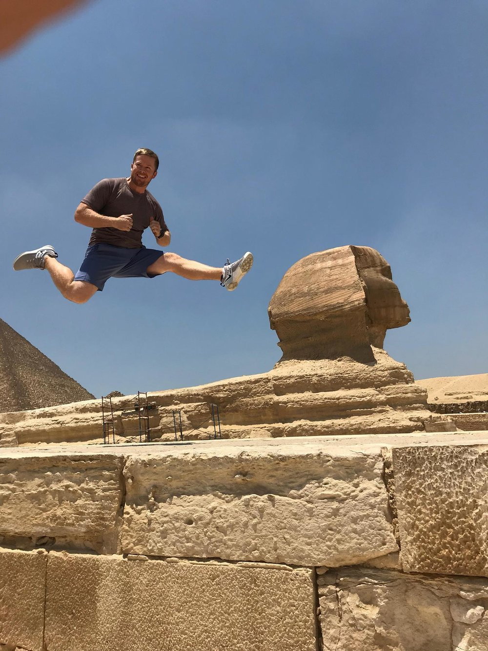 Brad showing is swole and flex skills on The Great Sphinx of Giza.