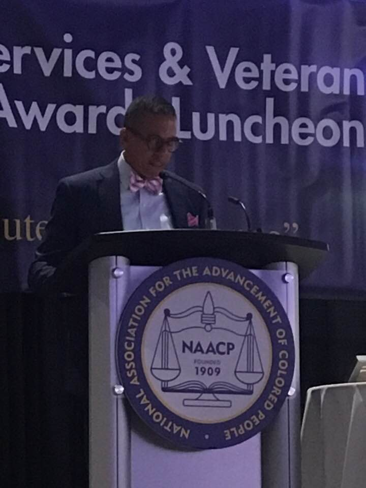 Congratulations to Skyline athlete Marc Carter. Here is a picture as he addressed the National Convention for the NAACP and received the Jesse Brown Leadership Award.