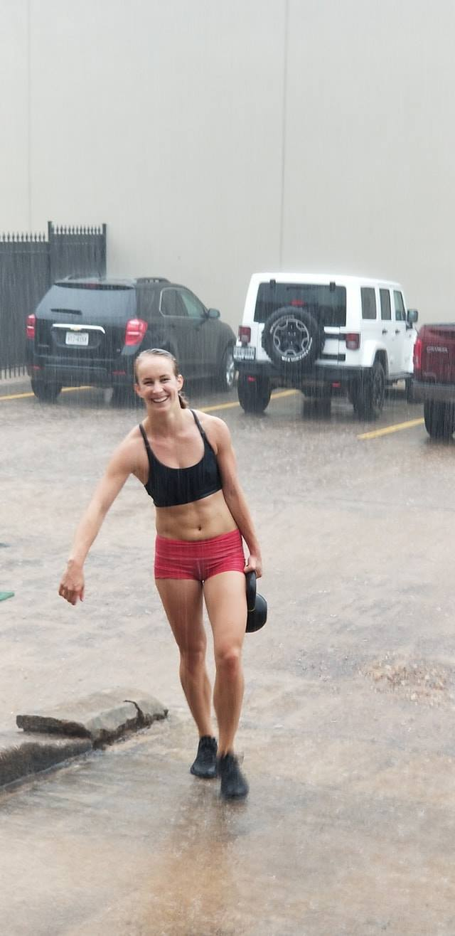 Kiah doing the workout in the rain without a complaint and even had a smile!