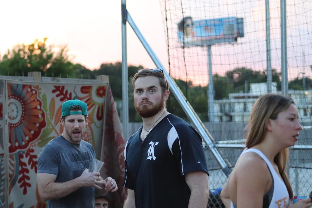 Grant perplexed at being photographed during Skylines Volleyball outing. Kevin inadvertently showing his massive bicep  and Amber is obviously very concerned.