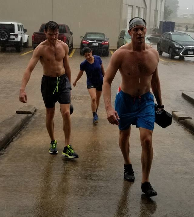 Skyline athletes cooling off in a cool rain!