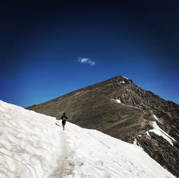 Skyline Athlete Russell Sloostra on Torrey's Peak, Colorado at a elevation of 14,000ft.