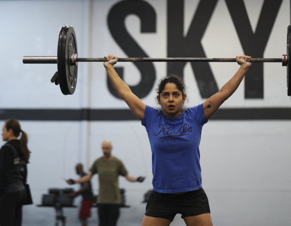 Skyline athlete Ana Quesnel with a very well established shoulder for overhead squats.
