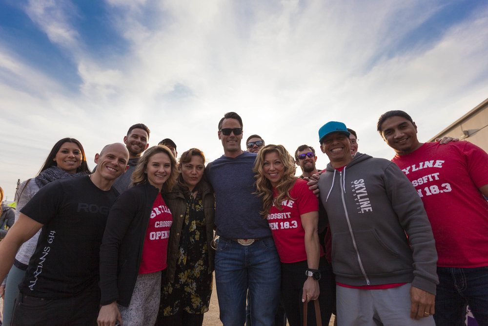 CrossFit Games announcer with the Skyline crew at 18.3 announcement.