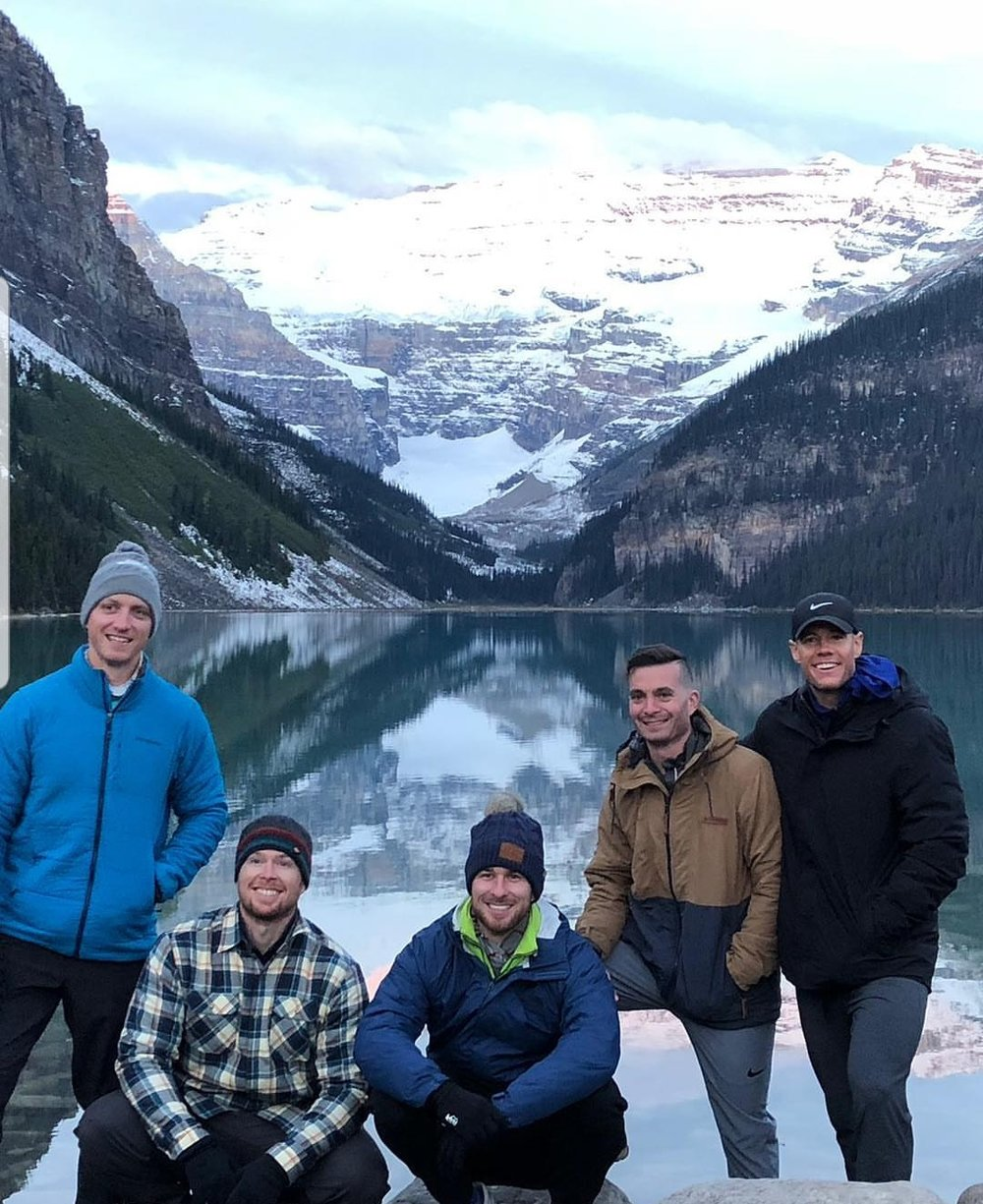 Skyline members (l to r) Trevor Gerland, Brand Andersen, Ryan Bailey, Ryan Kealler, and Daniel Orr at Banff National Park.