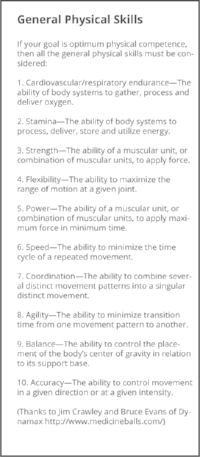 There are 10 recognized general physical skills. They are cardiovascular/respiratory endurance, stamina, strength, flexibility, power, speed, coordination, agility, balance and accuracy. You are as fit as you are competent in each of these 10 skills. A regimen develops fitness to the extent that it improves each of these 10 skills.