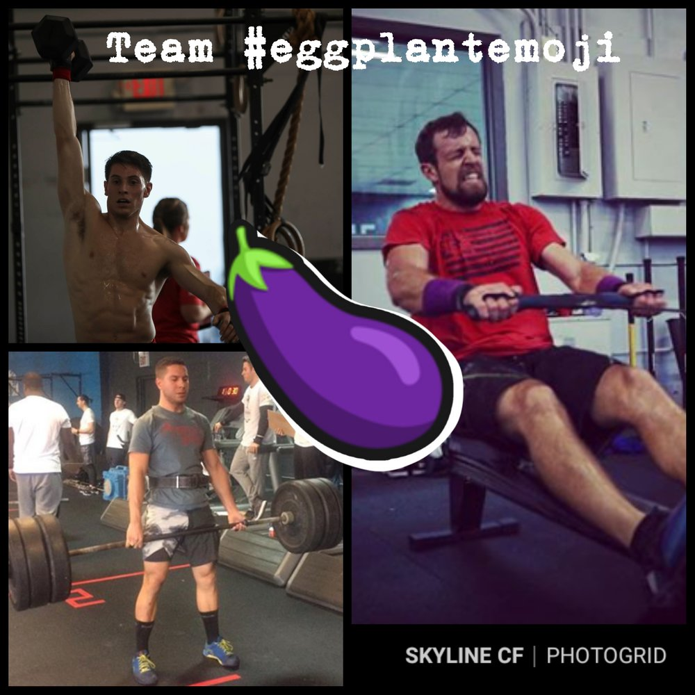 Skyline first Intermediate Mens Team to sign up for Granite Games Throwdown is Team #eggplantemoji (Vincent Quinones, Robert Guerrieri, David Boyea.  The Granite Games Throwdown - Skyline CrossFit is January 12th, 2019!