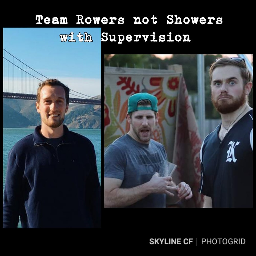 "Connor Pfister, Kevin Beckering, and Grant Billings make up Scaled Mens Team ""Rowers not Showers with Supervision"" for Granite Games Jan 12th."