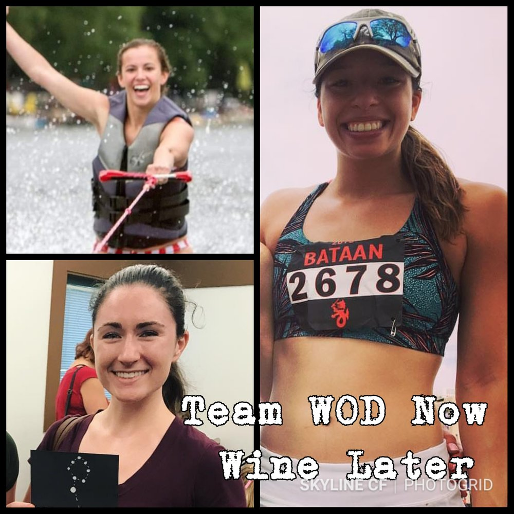 "Womens Scaled Team ""Wod Now Wine Later"" consists of Vreni Henderson, Lauren Kroft, and Amber Carter."