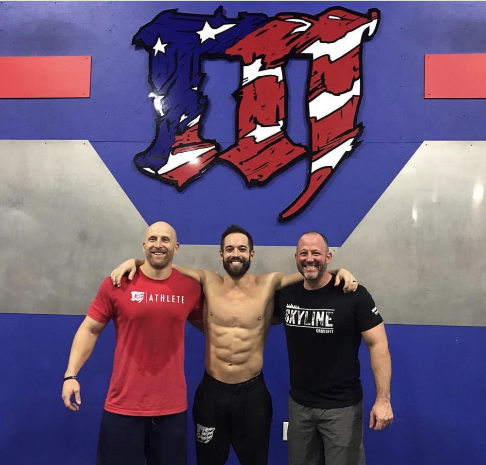 Skyline morning goer Glynn Johnson hitting up CrossFit Mayhem with Worlds Fittest Man (2012-2015) Rich Froning.