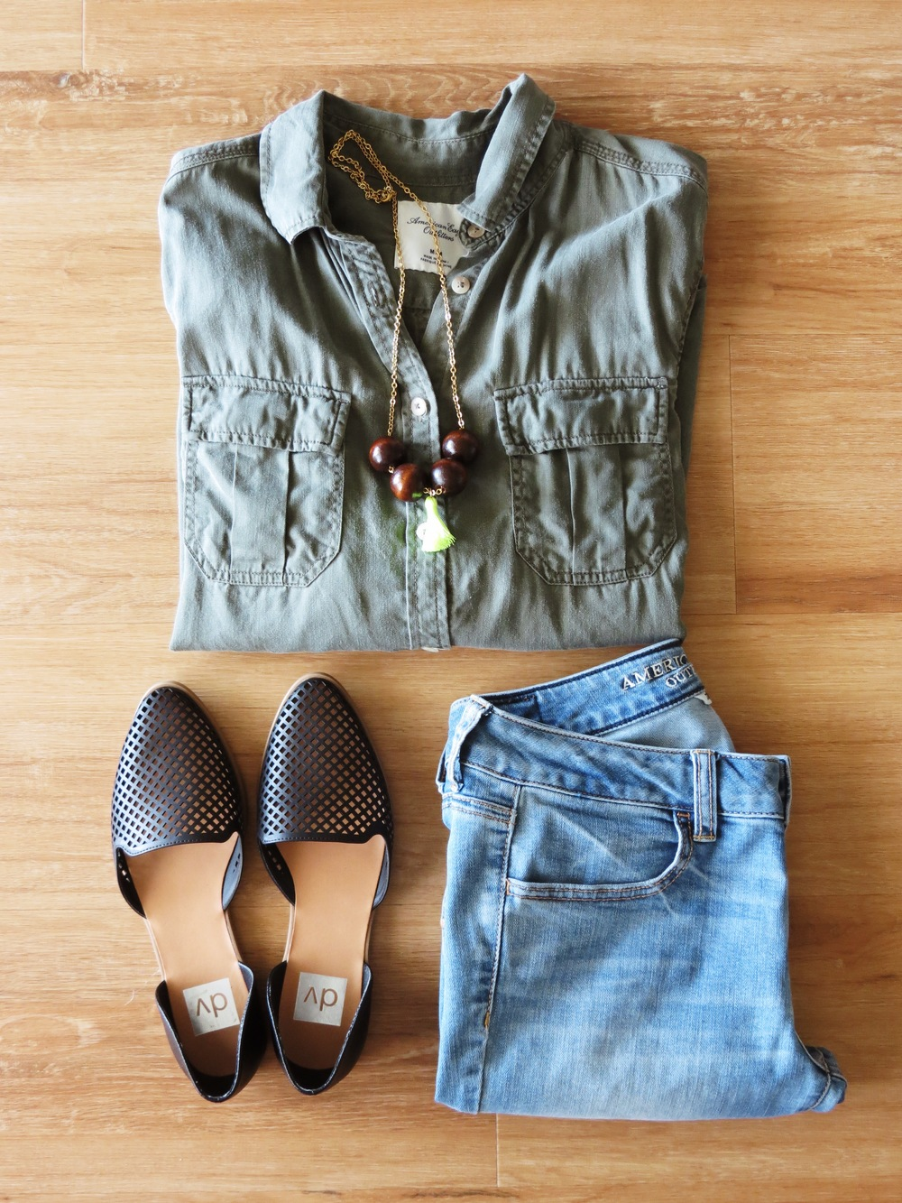 Leocadia K. Necklace // American Eagle Shirt (similar) // American Eagle Jeans // Target Flats