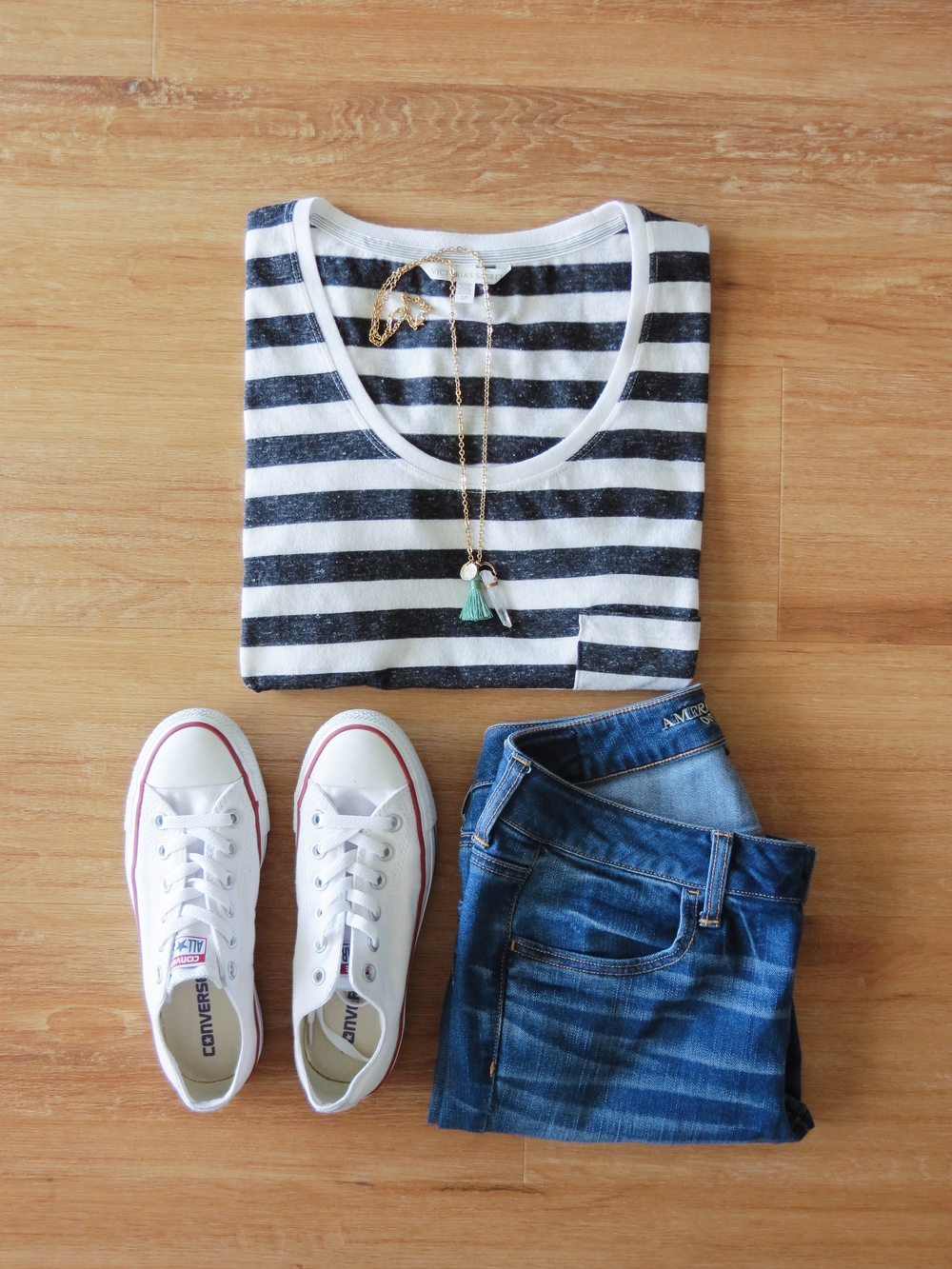 Leocadia K. Necklace // Victoria's Secret Shirt (similar) // American Eagle Jeans // Converse