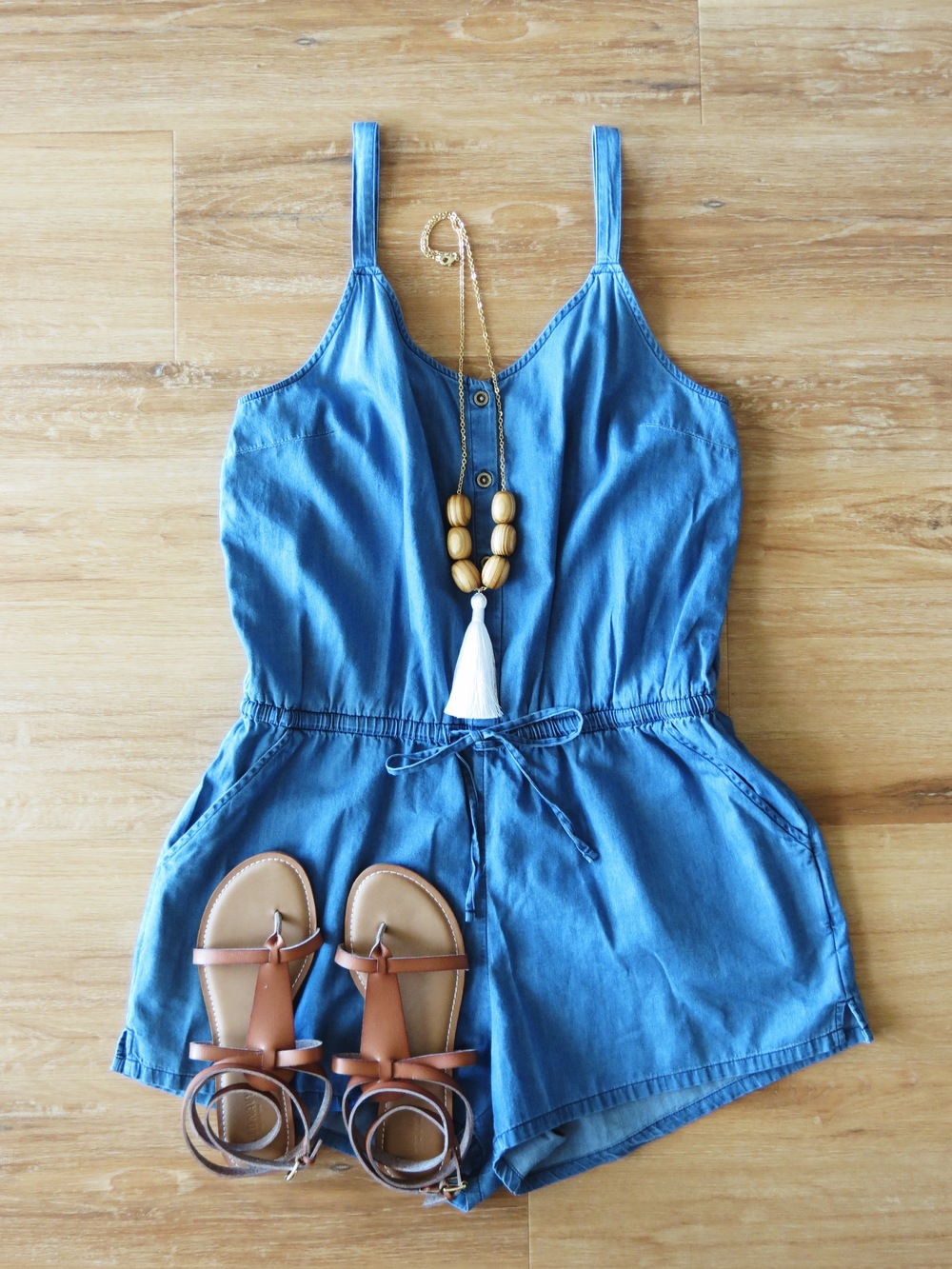 Leocadia K. Necklace // Old Navy Romper // Old Navy Sandals