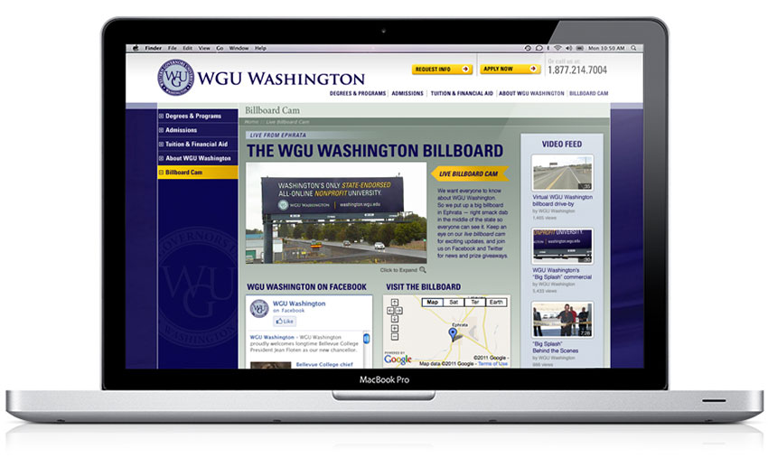 Web site featured a live 24/7 web cam of the billboard.