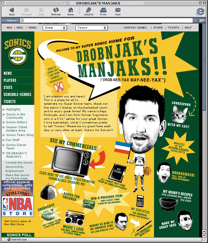 """DROBNJAK'S MANJAKS WEB (ONE SHOW INTERACTIVE PENCIL). Yahoo Sports called it, """"undoubtedly the greatest individual player website of all time."""""""