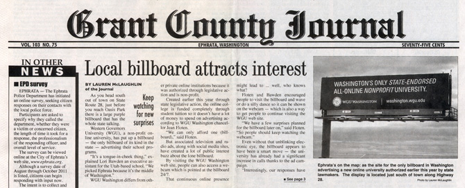 The billboard was front-page news in Ephrata.