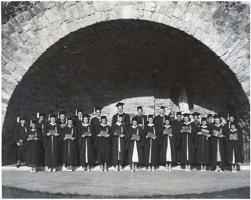 The first graduating class of Our Lady of Lourdes, 1953