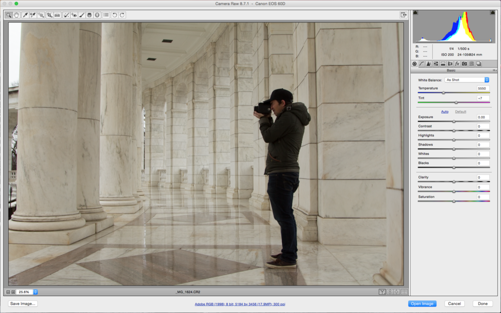 Raw image of Matt shooting the Unknown Soldier Memorial on his Pentax 645.