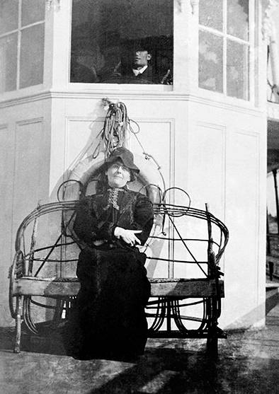 A keen observer and an assiduous diarist, May Bragdon took delight in recording her impressions of fellow travellers, such as the woman pictured above, on a steamship chair in front of the captain's wheel-house.