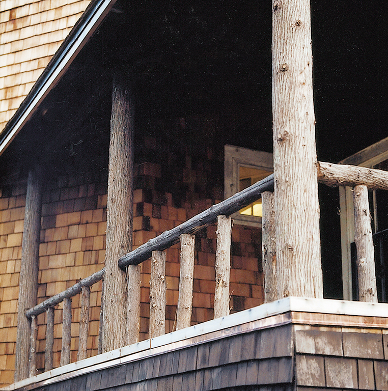 Log railings on one the hotel's many porches.
