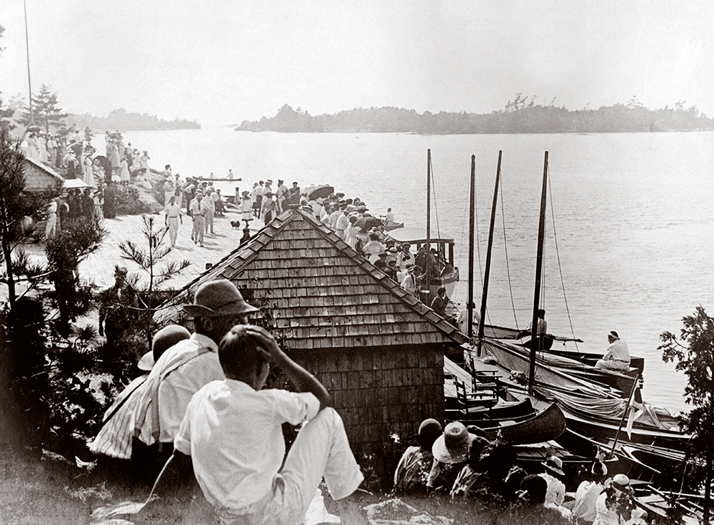 Whether it was while sailing races were getting underway, steamers were landing, the regatta was being organized, or fishing guides were meeting their customers, the Ojibway dock was the centre of activity.