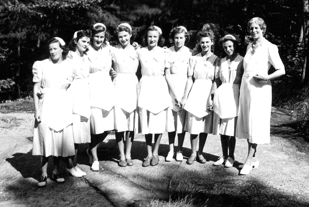 Waitresses in the 1940s, with head waitress Miss Cowan.