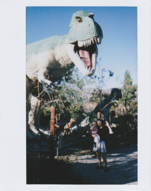 baby winifred, cabazon, cabazon dinosaurs, dinosaurs, family, film, fuji film, instant film, instax wide, instax wide 210 camera, pee wee's big adventure, scans