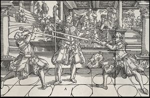 Eri varoasentoja Joachim Meÿerin massiivisessa Gründtliche Beschreibung der Kunst des Fechtens -manuaalissa (1570), joka sisältää pitkämiekan lisäksi myös rapiirin, dussackin sekä pitkän sauvan käyttöä.
