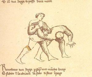 Tikarin aseestariisunta Fiore Furlano de'i Liberi de Cividale d'Austrian manuaalista Fior di Battaglia (n. 1409)