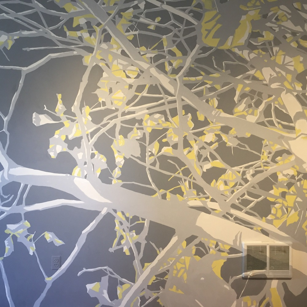A portion of my first mural, The Spirit Of The Trees, at my own loft