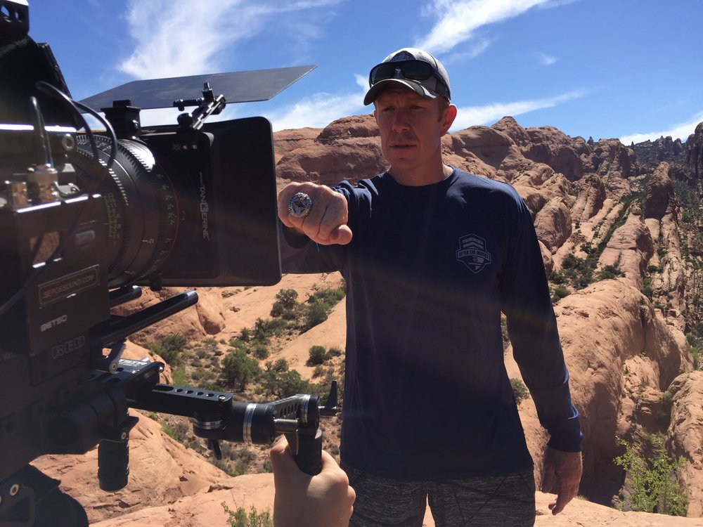 Super Bowl winning center Matt Birk in the canyon's of Moab Utah for Heroes in the Wild