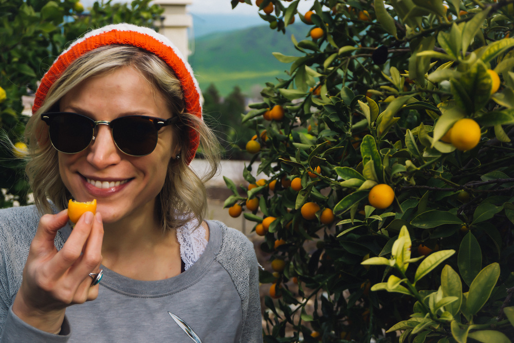 Had to post a picture eating a kumquat. Mainly, because they are so cute, so fun to say (kumquat!) and extremely delicious!