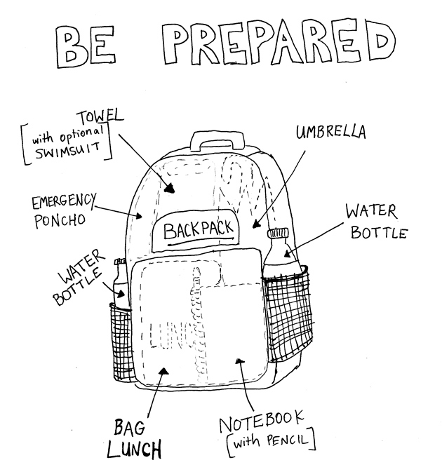 Here's what each great explorer needs…    - A sturdy  BACKPACK  with:  - a bag lunch  - at least one water bottle  - a MetroCard  - towel/change of clothes for water fun  - a swimsuit  - rain gear (just in case)    - optional :  a special notebook and pencil for recording observations (we also  make  our own notebooks during craft times)