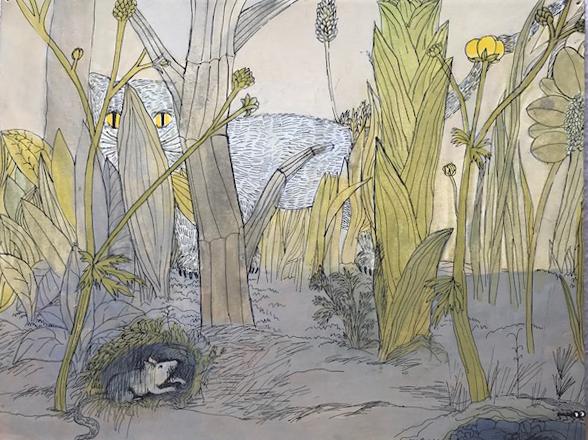 Kinderzimmer Bild  Tempera und Tusche auf Pappe 32x42cm  PREIS: 400 EUR