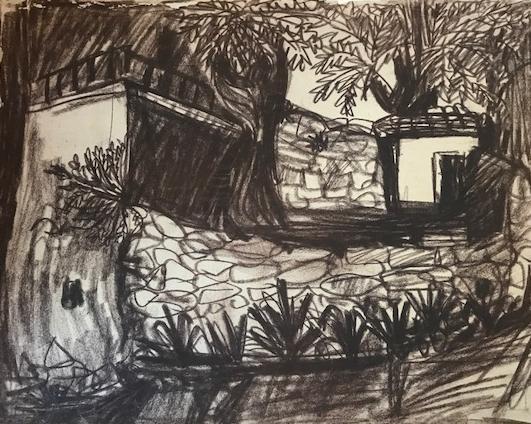 Im Provence Dorf Seguret  Sepia Zeichnung auf Ingres Papier 32 x 40cm  1955  PREIS: 455 EURO
