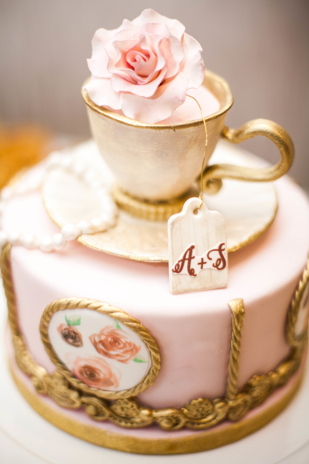 Tea Party Bridal Shower Cake Karimah Gheddai photography