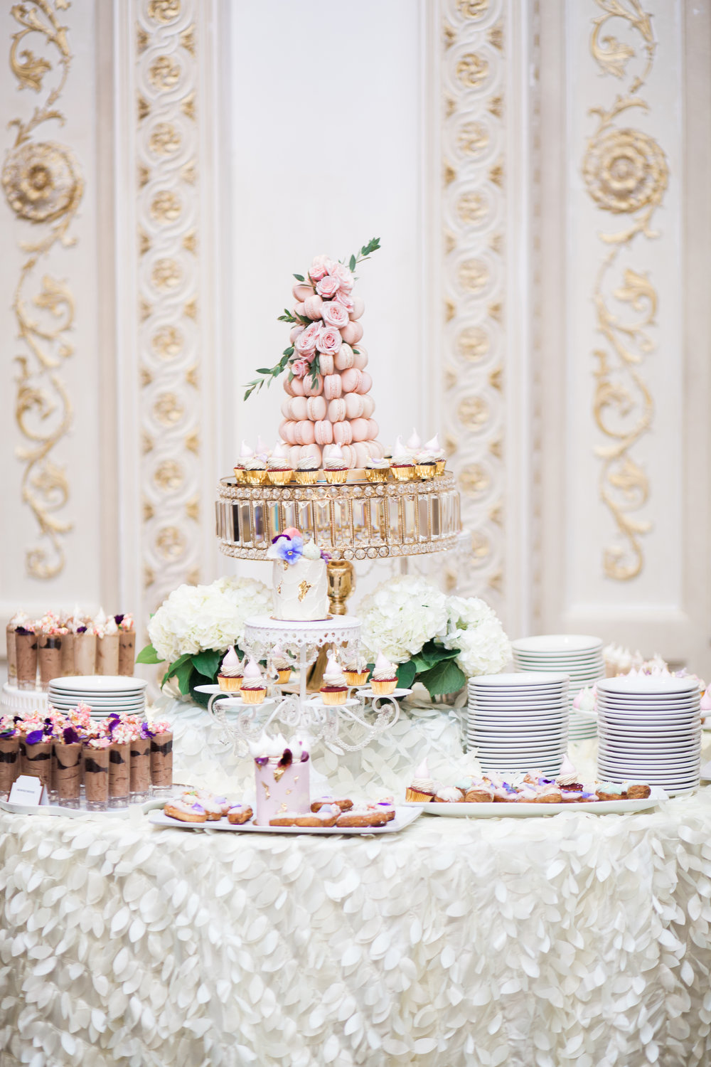Le Dolci Toronto Desserts Wedding Macarons Macaron Tower Wedding Photographer Blush Pink