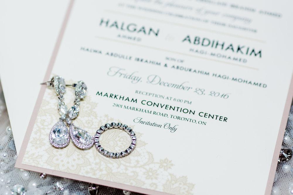 Karimah Gheddai Getting Ready Details Ring Invitation Card Somali Weddings Toronto Florals Wedding decor Hilton hotel East African weddings toronto luxe wedding