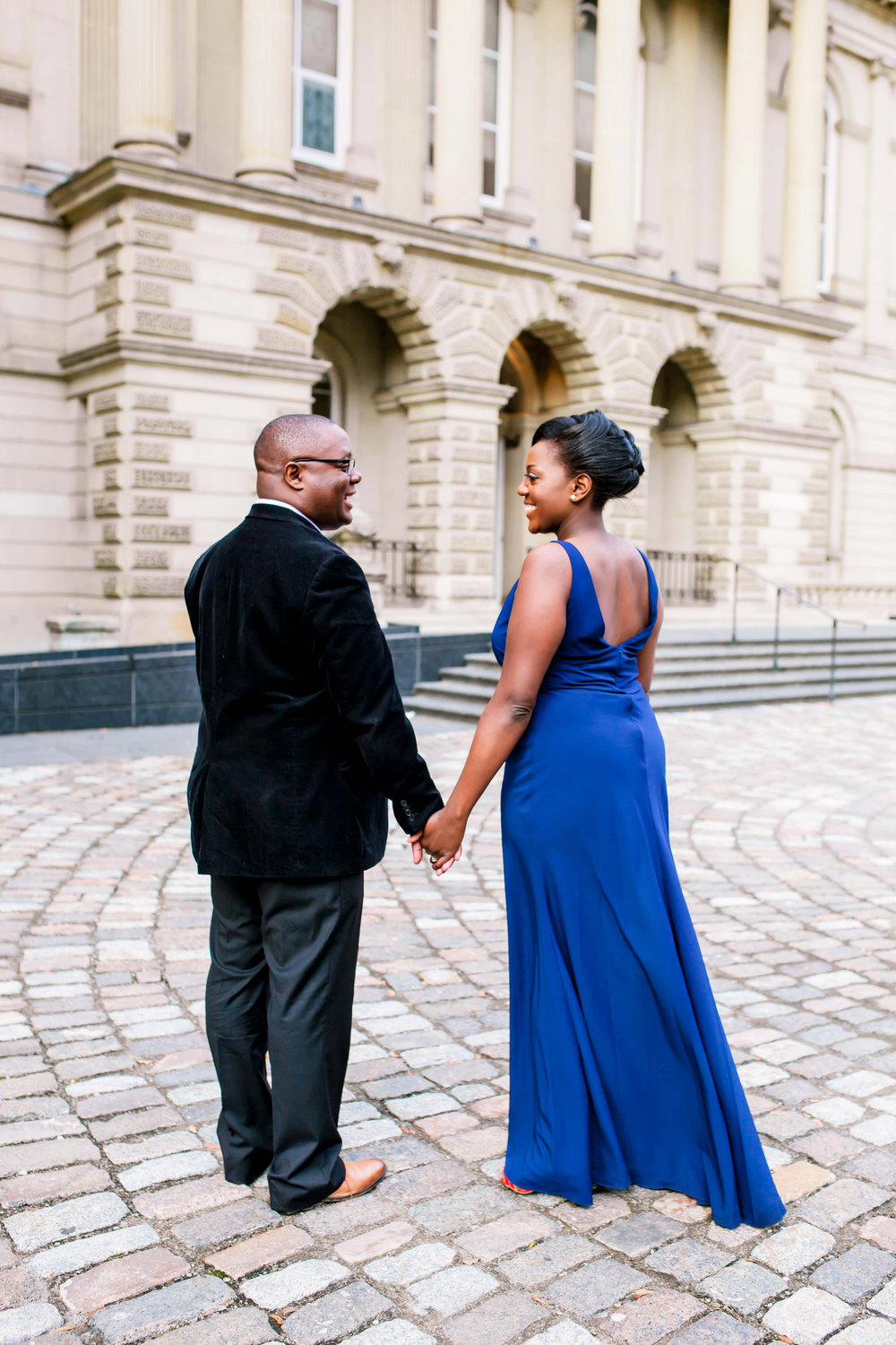 Engagement Photography Toronto Kenyan Kenya Osgoode Hall Toronto Downtown location Photographer Elegant photo ideas Ontario Canada African Black Couple Cobble Stone