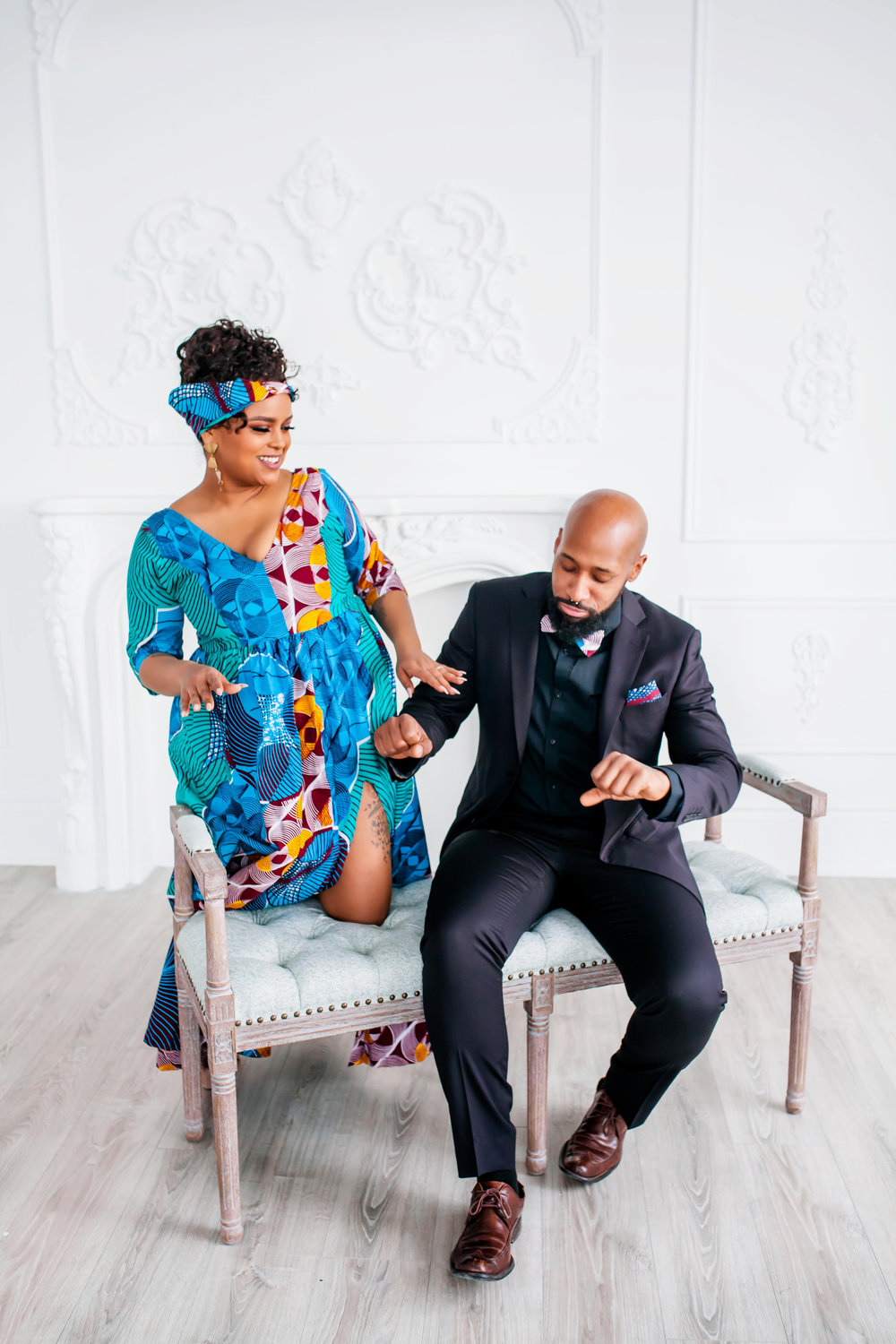 African Inspired Engagement Shoot Toronto Engagement Photographer Mint Room Studios Toronto Engagement Photography Indoors Karimah Gheddai Photography