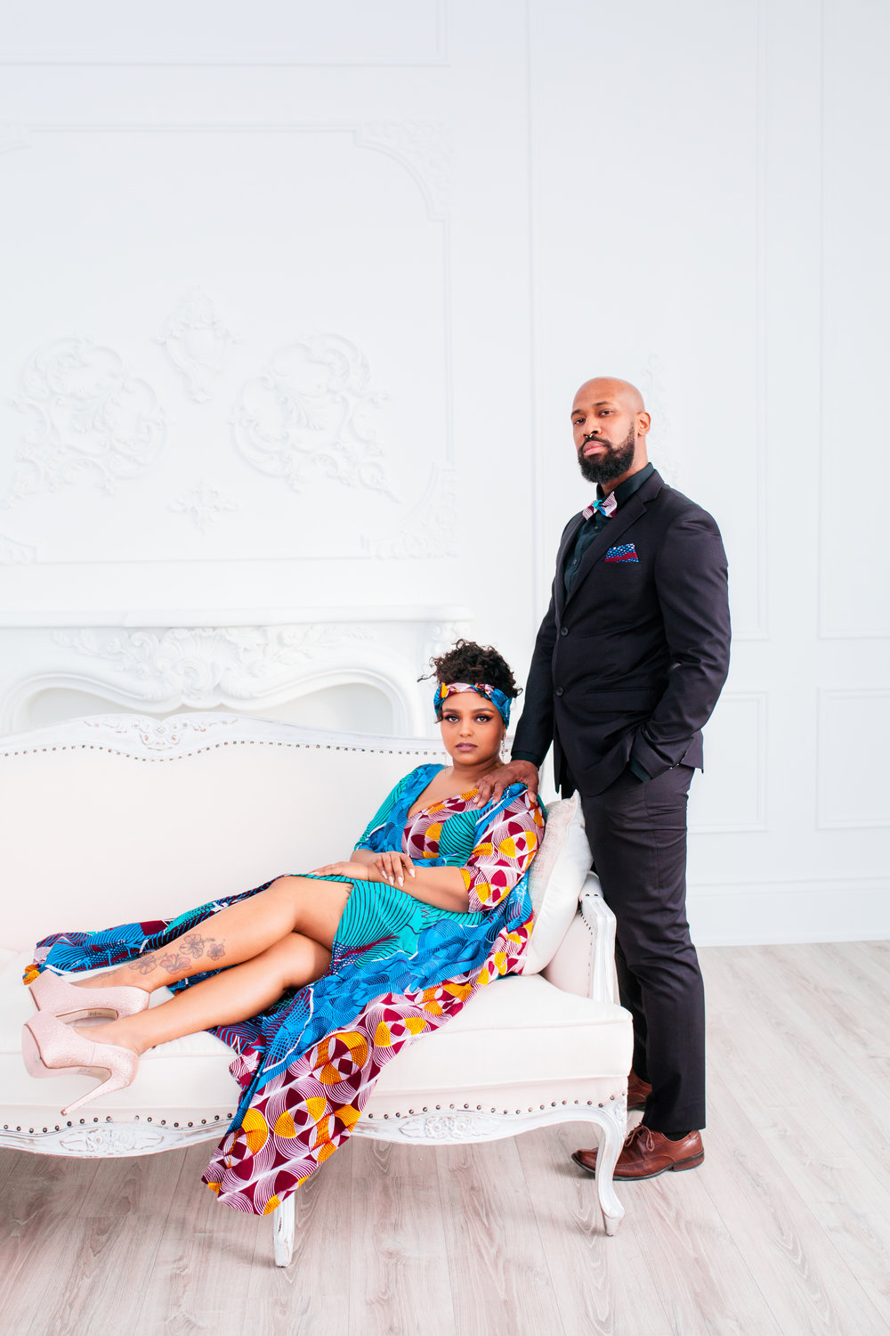 African Inspired Engagement Shoot Toronto Engagement Photographer Mint Room Studios Toronto Engagement Photography Indoors Karimah Gheddai Photography Portraits